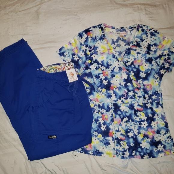 koi Other - Koi Scrub Set in Royal Blue Top XXsmall Pants XS